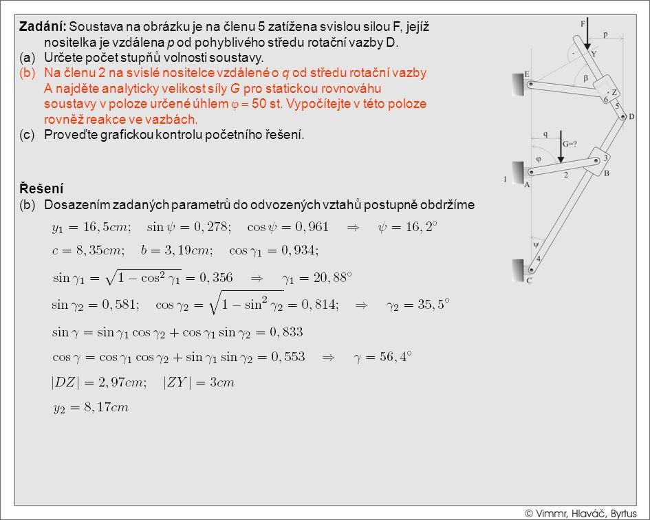 Řešení (b)Dosazením zadaných parametrů do odvozených vztahů postupně obdržíme Zadání: Soustava na obrázku je na členu 5 zatížena svislou silou F, její