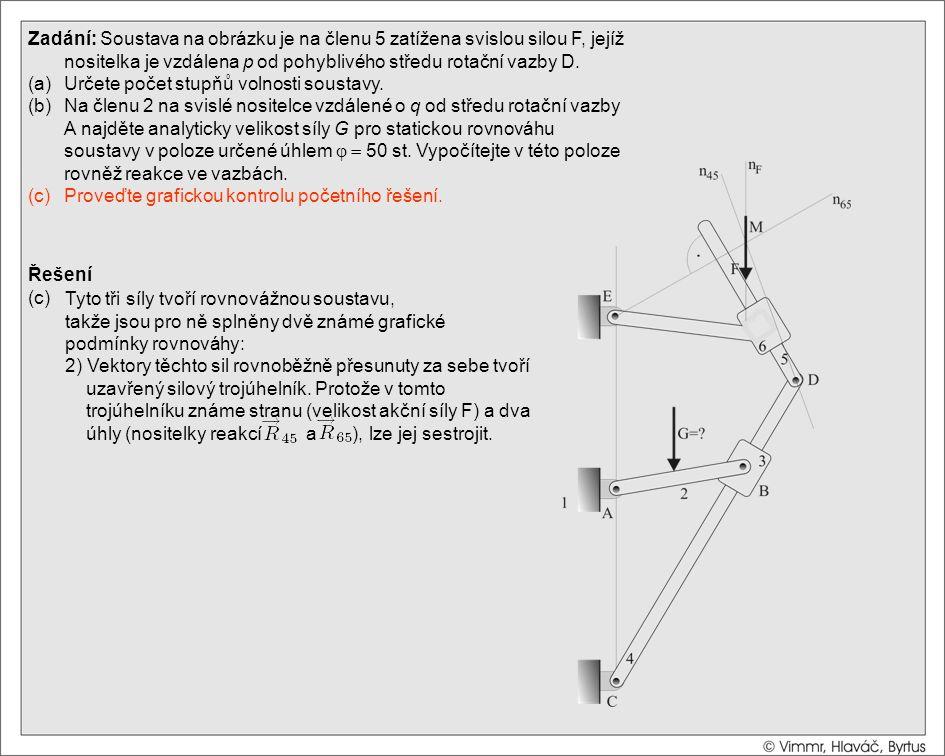 Řešení (c) Zadání: Soustava na obrázku je na členu 5 zatížena svislou silou F, jejíž nositelka je vzdálena p od pohyblivého středu rotační vazby D. (a