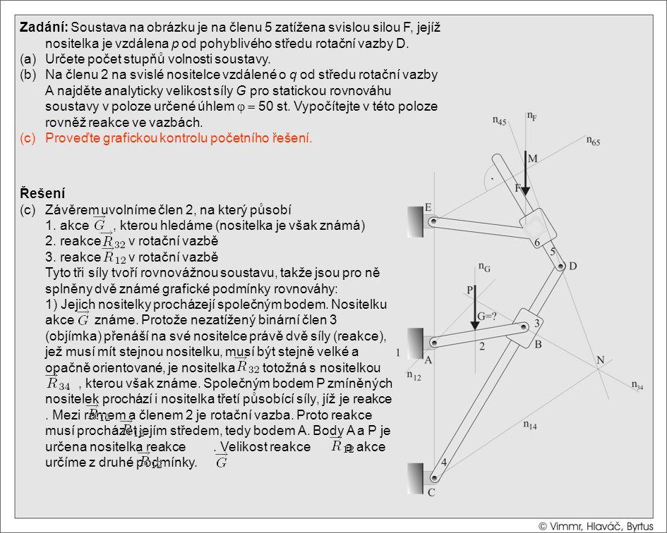 Řešení (c)Závěrem uvolníme člen 2, na který působí 1. akce, kterou hledáme (nositelka je však známá) 2. reakce v rotační vazbě 3. reakce v rotační vaz
