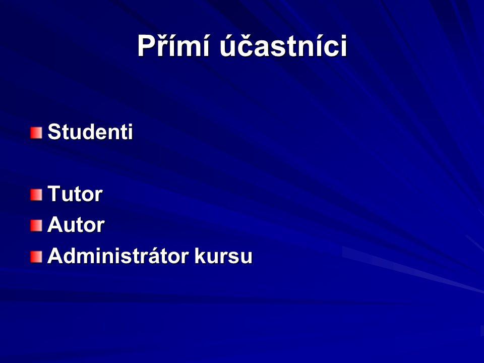 Podpůrné činnosti Didaktická podpora Příprava multimediálních prvků Administrátor systému Technická podpora
