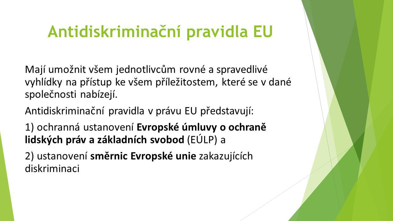 Antidiskriminační pravidla EU Mají umožnit všem jednotlivcům rovné a spravedlivé vyhlídky na přístup ke všem příležitostem, které se v dané společnosti nabízejí.