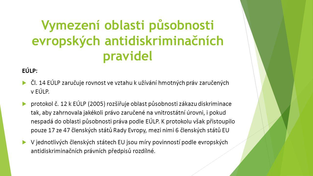 Vymezení oblasti působnosti evropských antidiskriminačních pravidel EÚLP:  Čl.