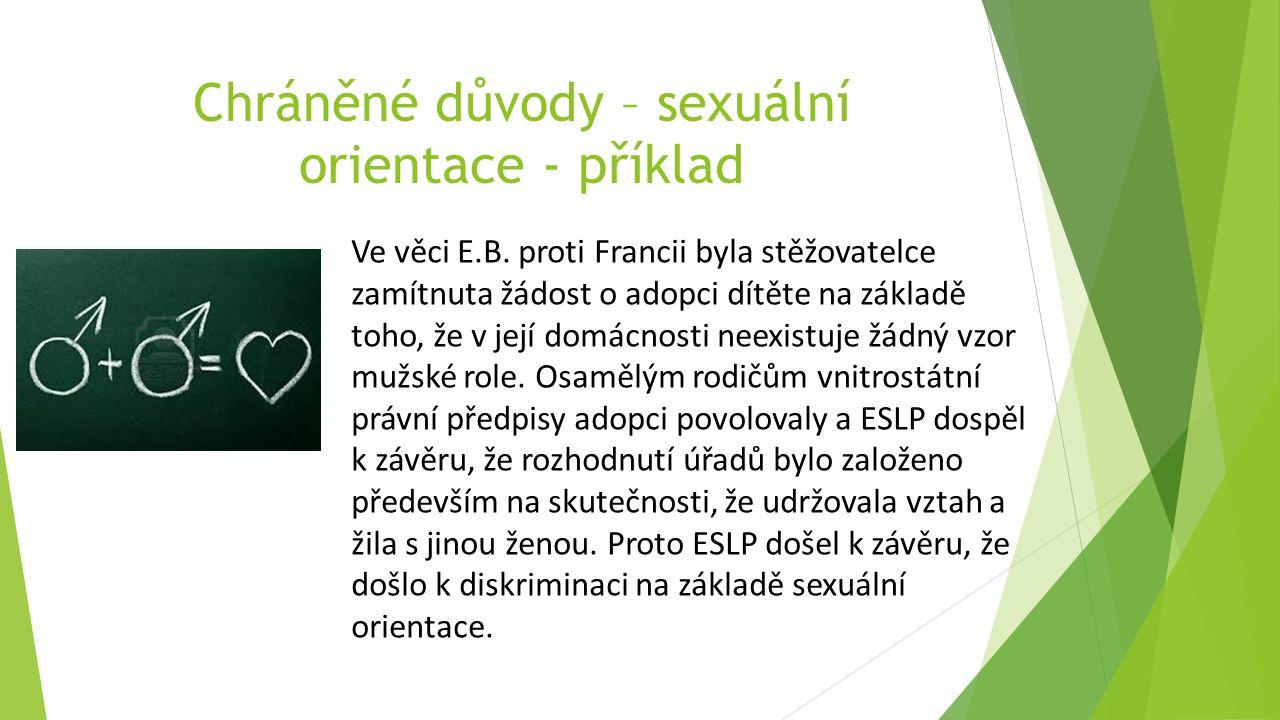 Chráněné důvody – sexuální orientace - příklad Ve věci E.B.