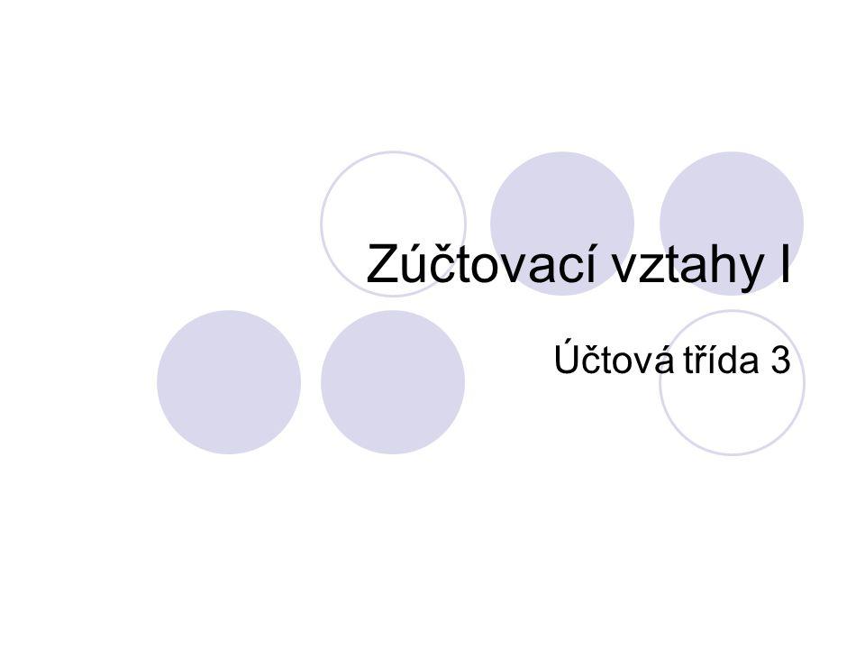 Zúčtovací vztahy Jsou upraveny českým účetním standardem č.