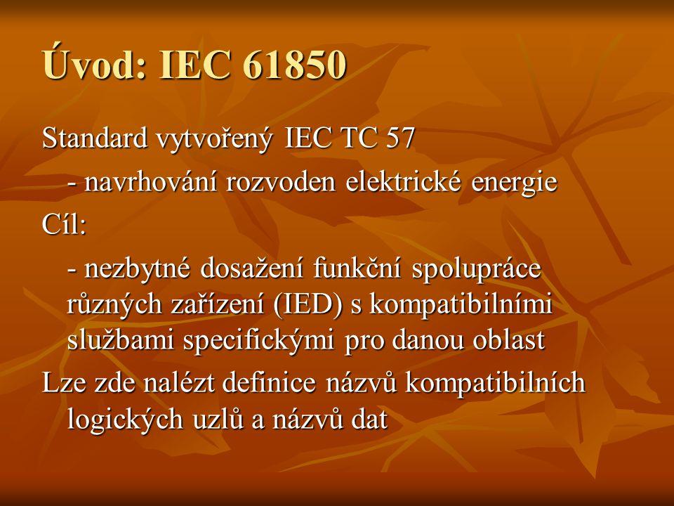 Úvod: IEC 61850 Standard vytvořený IEC TC 57 - navrhování rozvoden elektrické energie Cíl: - nezbytné dosažení funkční spolupráce různých zařízení (IED) s kompatibilními službami specifickými pro danou oblast Lze zde nalézt definice názvů kompatibilních logických uzlů a názvů dat