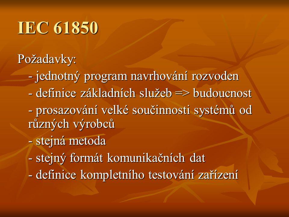 IEC 61850 Požadavky: - jednotný program navrhování rozvoden - definice základních služeb => budoucnost - prosazování velké součinnosti systémů od různých výrobců - stejná metoda - stejný formát komunikačních dat - definice kompletního testování zařízení