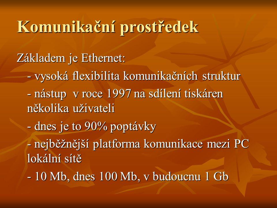 Komunikační prostředek Základem je Ethernet: - vysoká flexibilita komunikačních struktur - nástup v roce 1997 na sdílení tiskáren několika uživateli - dnes je to 90% poptávky - nejběžnější platforma komunikace mezi PC lokální sítě - 10 Mb, dnes 100 Mb, v budoucnu 1 Gb