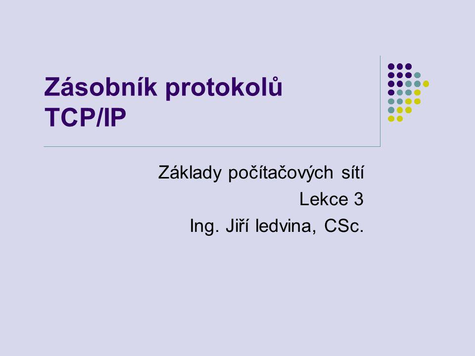 Zásobník protokolů TCP/IP Základy počítačových sítí Lekce 3 Ing. Jiří ledvina, CSc.