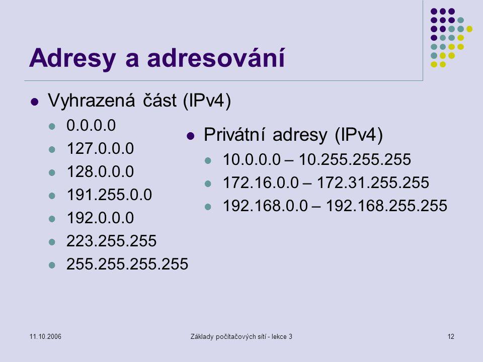 11.10.2006Základy počítačových sítí - lekce 312 Adresy a adresování Vyhrazená část (IPv4) 0.0.0.0 127.0.0.0 128.0.0.0 191.255.0.0 192.0.0.0 223.255.25
