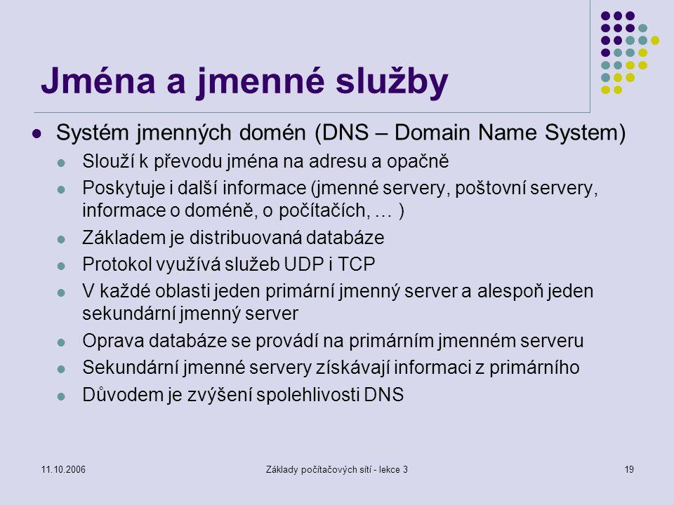 11.10.2006Základy počítačových sítí - lekce 319 Jména a jmenné služby Systém jmenných domén (DNS – Domain Name System) Slouží k převodu jména na adres