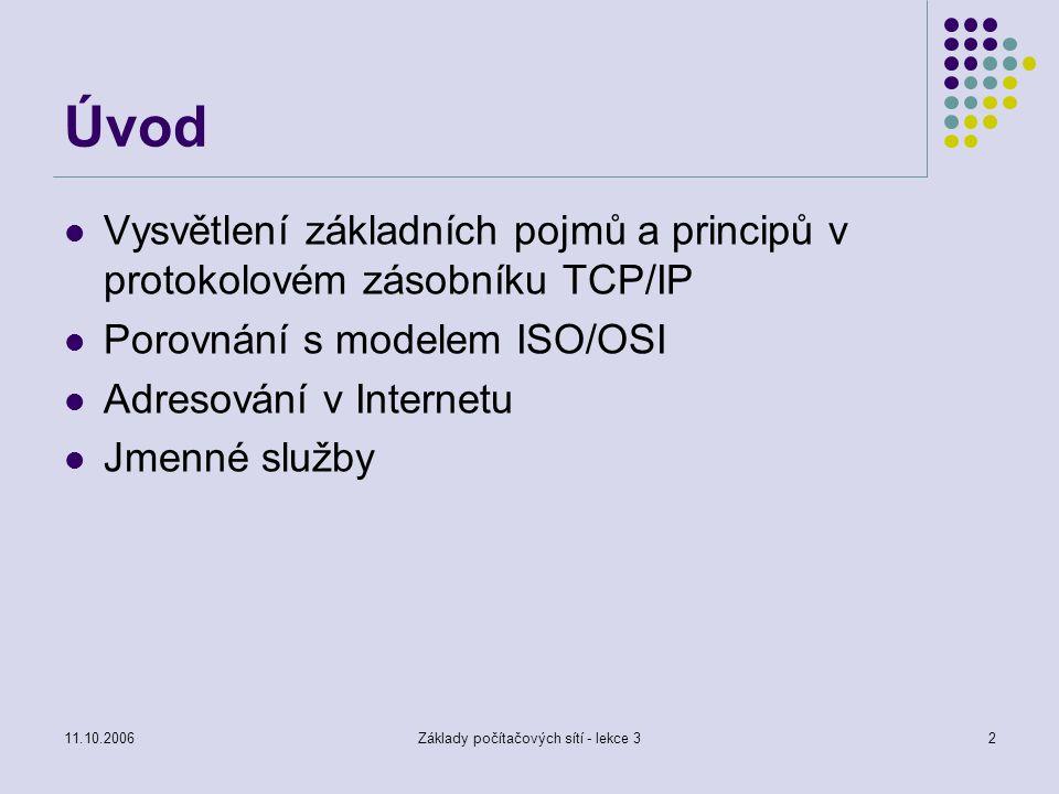 11.10.2006Základy počítačových sítí - lekce 32 Úvod Vysvětlení základních pojmů a principů v protokolovém zásobníku TCP/IP Porovnání s modelem ISO/OSI