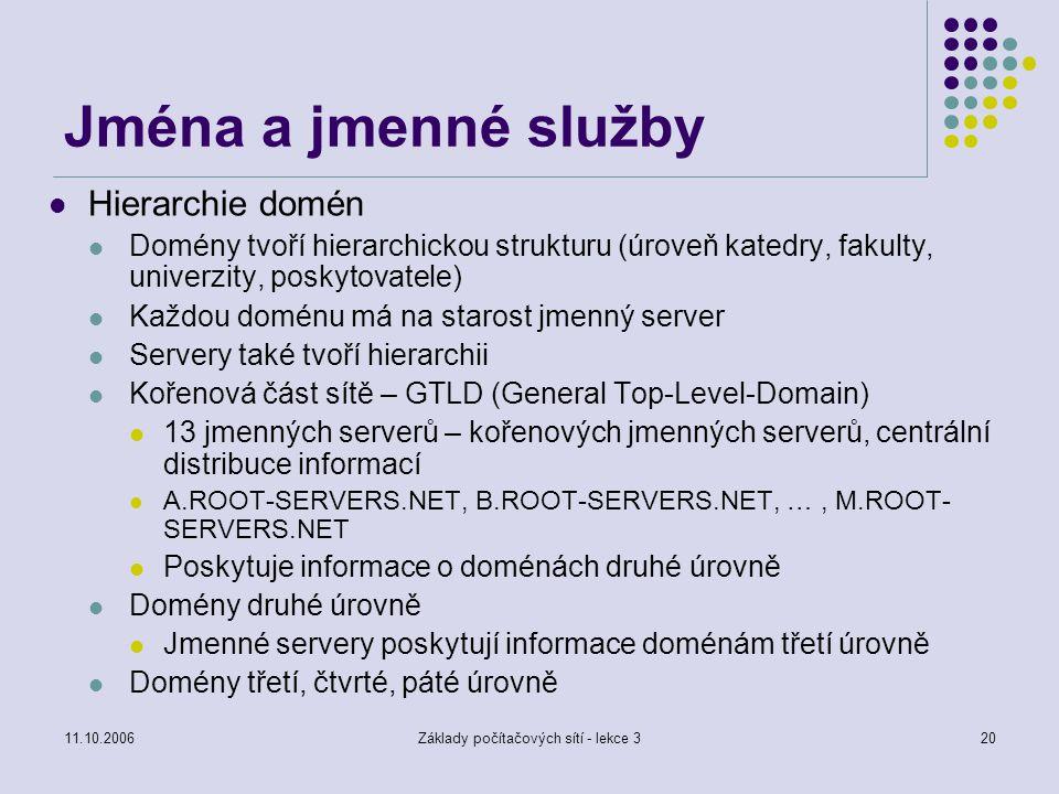 11.10.2006Základy počítačových sítí - lekce 320 Jména a jmenné služby Hierarchie domén Domény tvoří hierarchickou strukturu (úroveň katedry, fakulty,