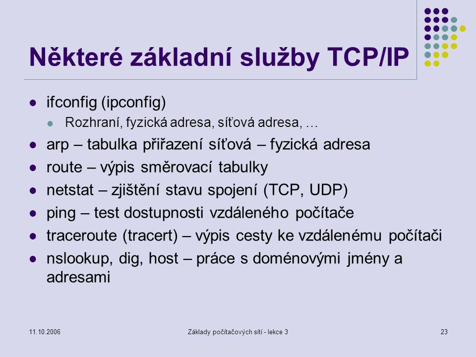 11.10.2006Základy počítačových sítí - lekce 323 Některé základní služby TCP/IP ifconfig (ipconfig) Rozhraní, fyzická adresa, síťová adresa, … arp – ta