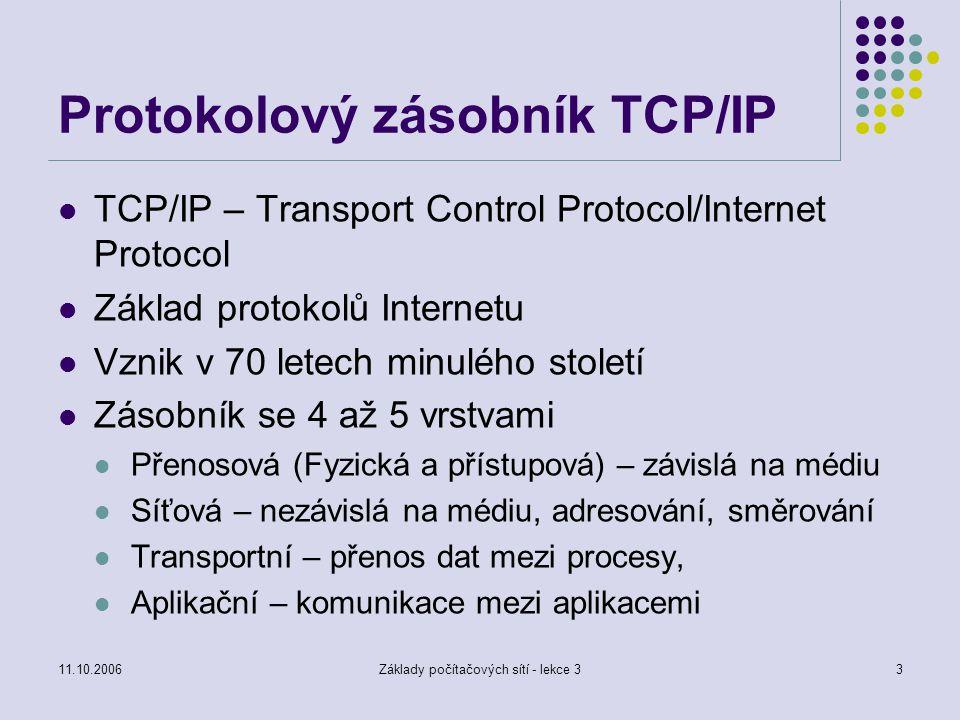 11.10.2006Základy počítačových sítí - lekce 33 Protokolový zásobník TCP/IP TCP/IP – Transport Control Protocol/Internet Protocol Základ protokolů Inte