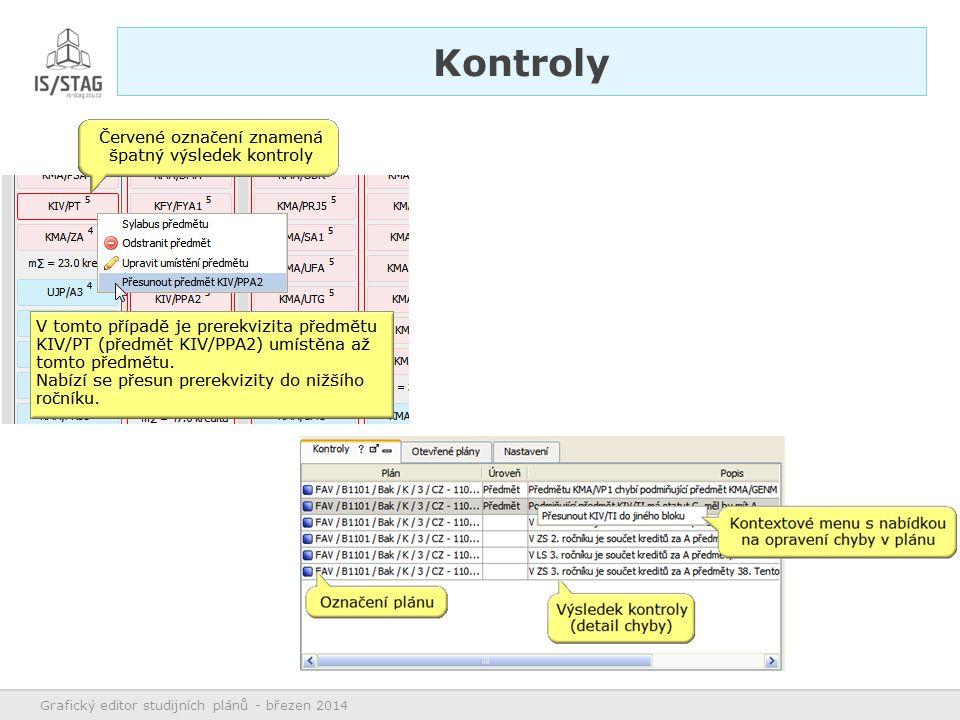 Především myší Přetahování předmětů, bloků, segmentů Editace Grafický editor studijních plánů - březen 2014 Ovládání