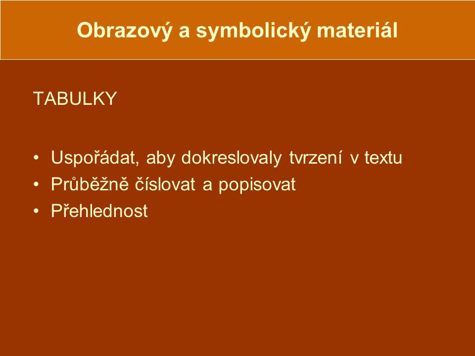 Obrazový a symbolický materiál TABULKY Uspořádat, aby dokreslovaly tvrzení v textu Průběžně číslovat a popisovat Přehlednost