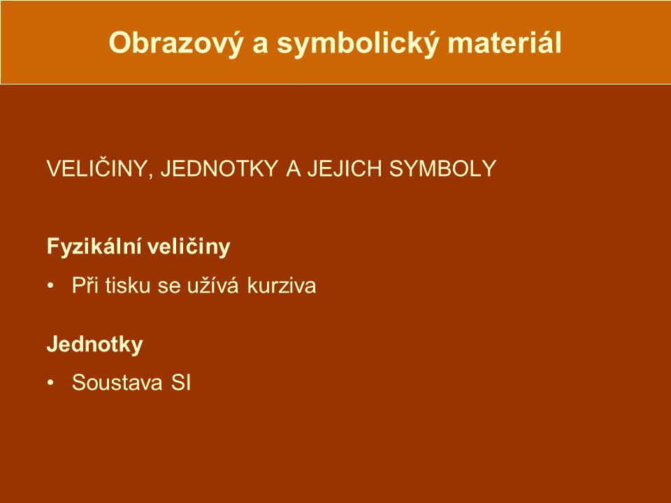 Obrazový a symbolický materiál VELIČINY, JEDNOTKY A JEJICH SYMBOLY Fyzikální veličiny Při tisku se užívá kurziva Jednotky Soustava SI