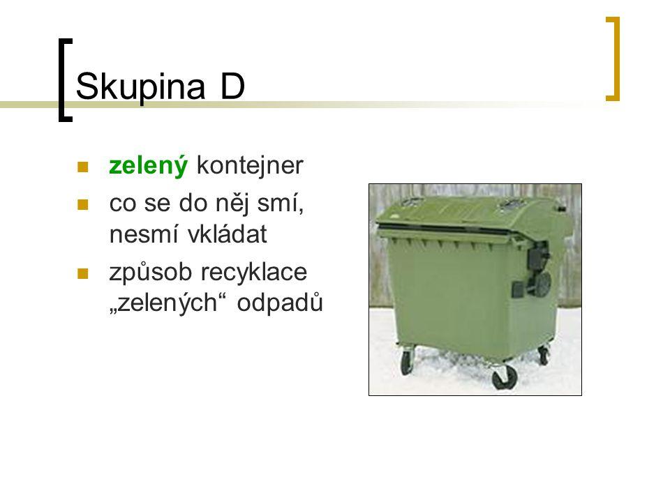 """Skupina C žlutý kontejner co se do něj smí, nesmí vkládat způsob recyklace """"žlutých odpadů"""