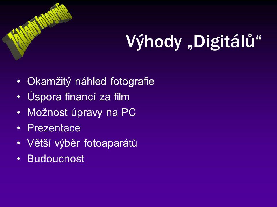 """Výhody """"Digitálů"""" Okamžitý náhled fotografie Úspora financí za film Možnost úpravy na PC Prezentace Větší výběr fotoaparátů Budoucnost"""