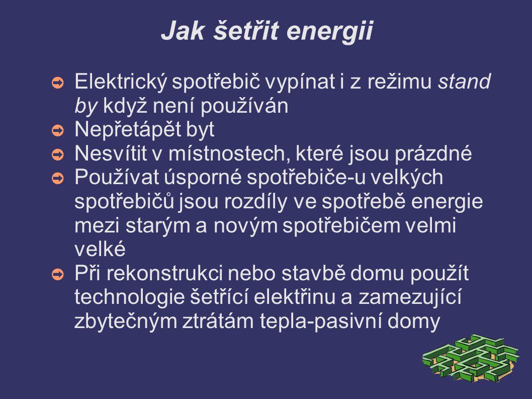 Jak šetřit energii ➲ Elektrický spotřebič vypínat i z režimu stand by když není používán ➲ Nepřetápět byt ➲ Nesvítit v místnostech, které jsou prázdné