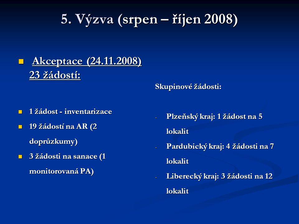 5. Výzva (srpen – říjen 2008) Akceptace (24.11.2008) 23 žádostí: Akceptace (24.11.2008) 23 žádostí: 1 žádost - inventarizace 1 žádost - inventarizace
