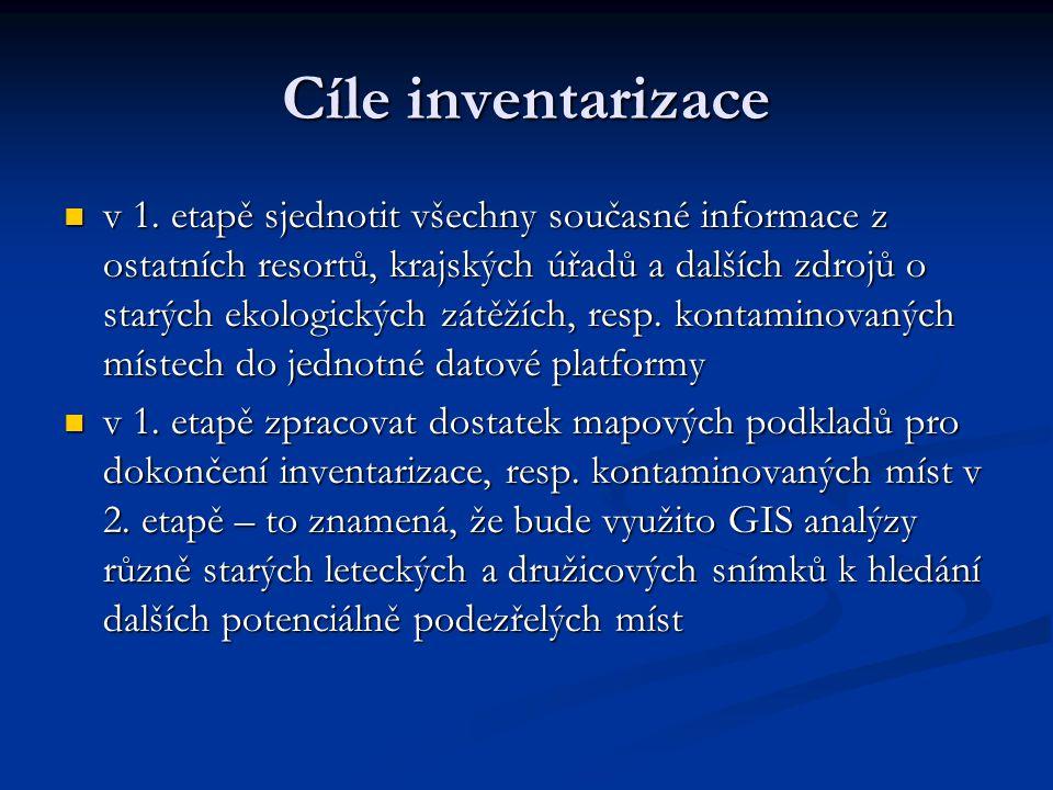 Cíle inventarizace v 1. etapě sjednotit všechny současné informace z ostatních resortů, krajských úřadů a dalších zdrojů o starých ekologických zátěží