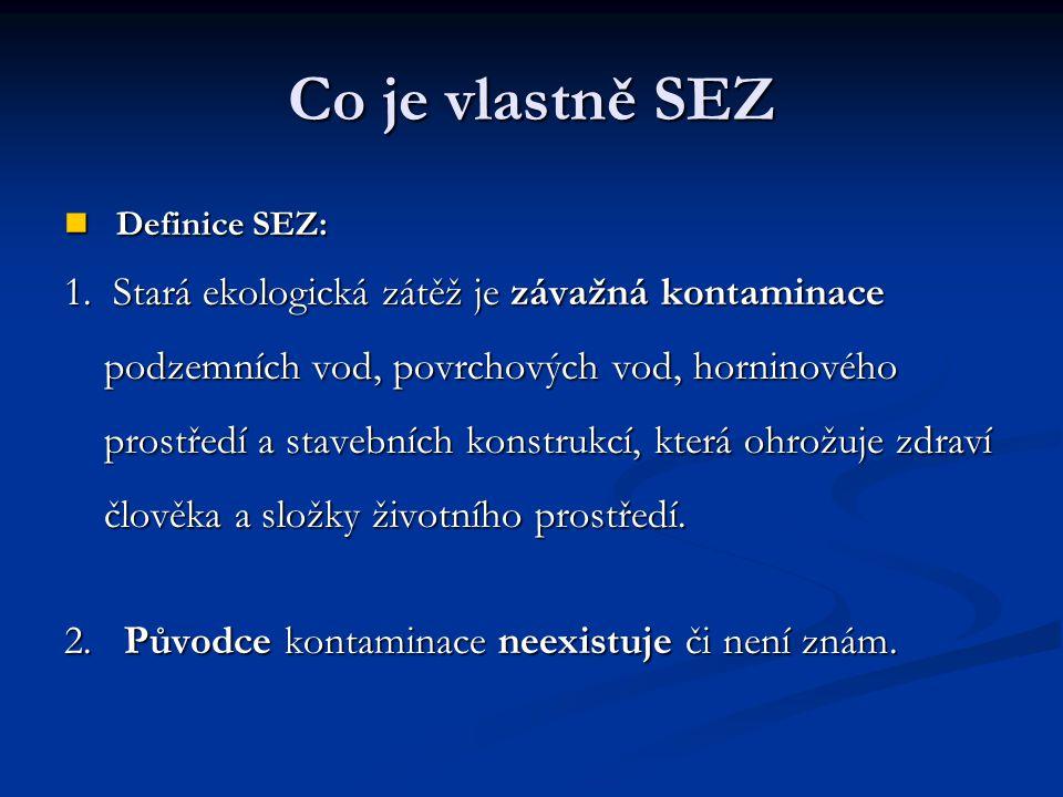 Co je vlastně SEZ Definice SEZ: Definice SEZ: 1. Stará ekologická zátěž je závažná kontaminace podzemních vod, povrchových vod, horninového prostředí