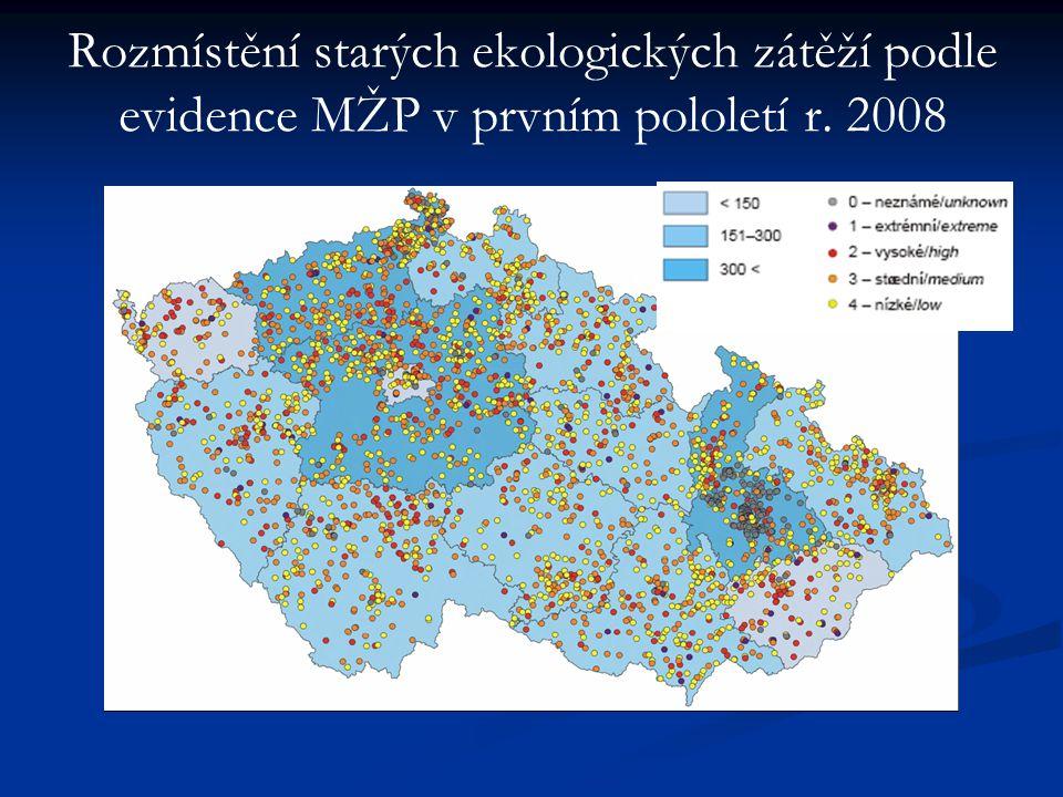 Rozmístění starých ekologických zátěží podle evidence MŽP v prvním pololetí r. 2008