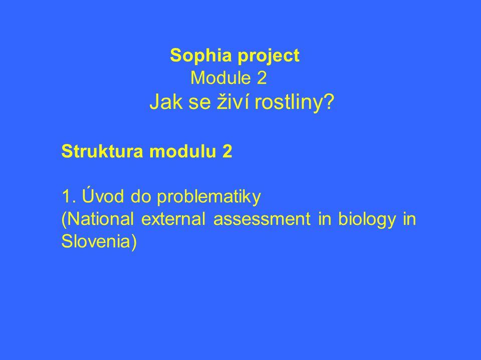 Sophia project Module 2 Jak se živí rostliny? Struktura modulu 2 1. Úvod do problematiky (National external assessment in biology in Slovenia)