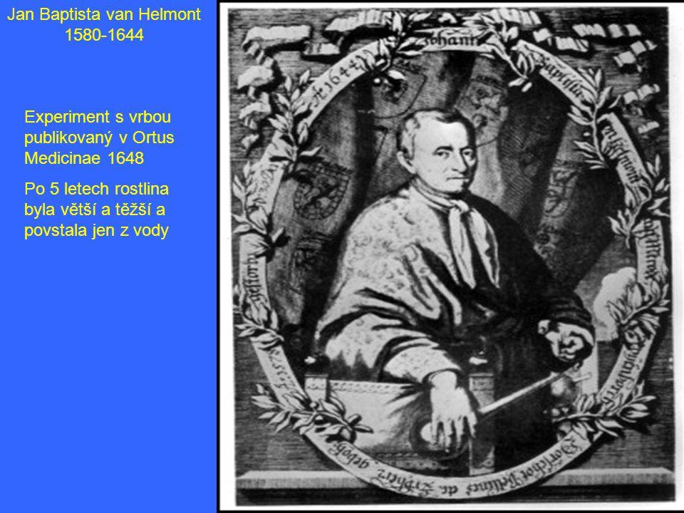 Jan Baptista van Helmont 1580-1644 Experiment s vrbou publikovaný v Ortus Medicinae 1648 Po 5 letech rostlina byla větší a těžší a povstala jen z vody