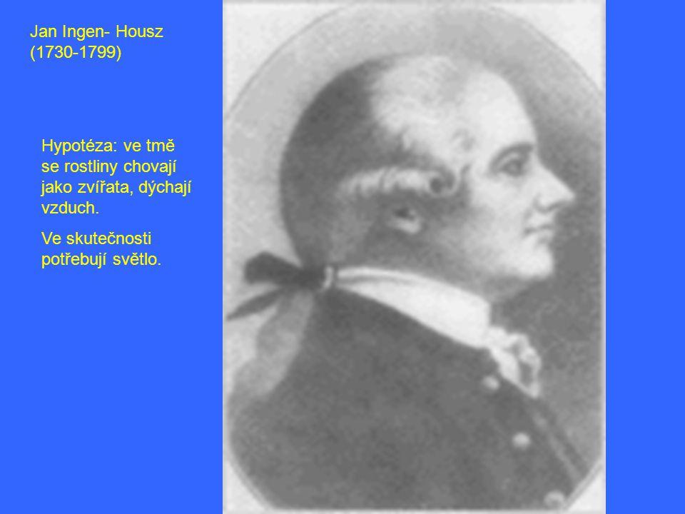 Jan Ingen- Housz (1730-1799) Hypotéza: ve tmě se rostliny chovají jako zvířata, dýchají vzduch. Ve skutečnosti potřebují světlo.