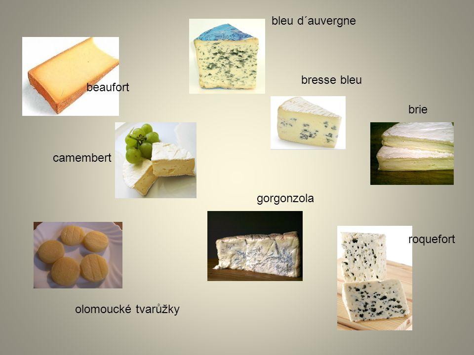 beaufort bleu d´auvergne bresse bleu brie camembert gorgonzola olomoucké tvarůžky roquefort