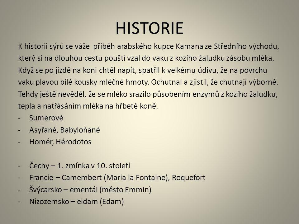 HISTORIE K historii sýrů se váže příběh arabského kupce Kamana ze Středního východu, který si na dlouhou cestu pouští vzal do vaku z kozího žaludku zá