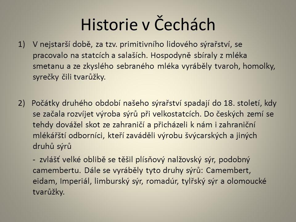 Historie v Čechách 1)V nejstarší době, za tzv. primitivního lidového sýrařství, se pracovalo na statcích a salaších. Hospodyně sbíraly z mléka smetanu