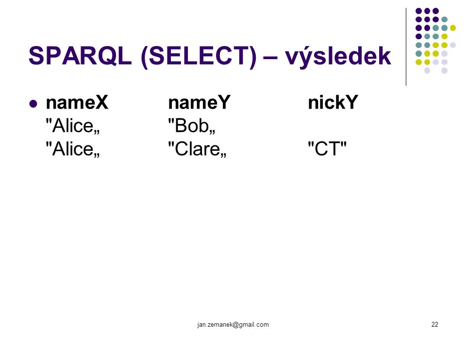 jan.zemanek@gmail.com22 SPARQL (SELECT) – výsledek nameX nameY nickY