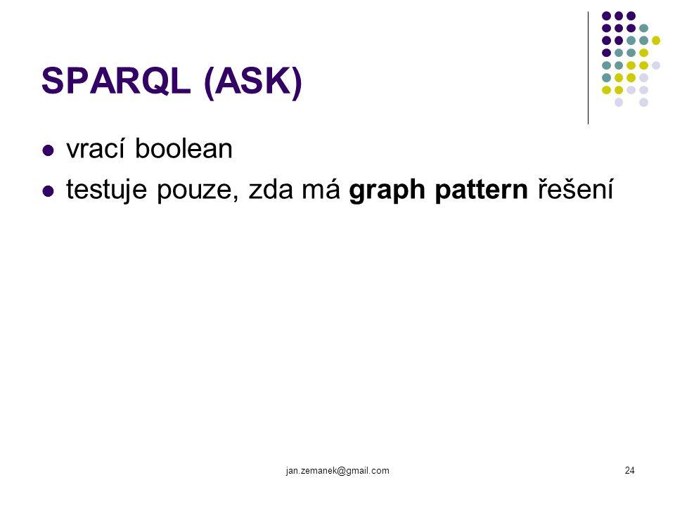 jan.zemanek@gmail.com24 SPARQL (ASK) vrací boolean testuje pouze, zda má graph pattern řešení