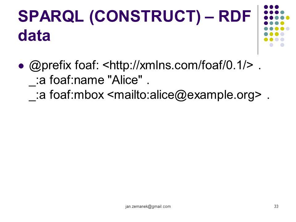 jan.zemanek@gmail.com33 SPARQL (CONSTRUCT) – RDF data @prefix foaf:. _:a foaf:name