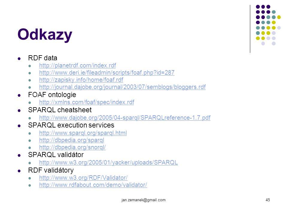 jan.zemanek@gmail.com45 Odkazy RDF data http://planetrdf.com/index.rdf http://www.deri.ie/fileadmin/scripts/foaf.php?id=287 http://zapisky.info/home/f