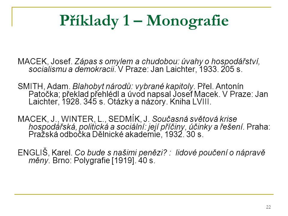 22 Příklady 1 – Monografie MACEK, Josef. Zápas s omylem a chudobou: úvahy o hospodářství, socialismu a demokracii. V Praze: Jan Laichter, 1933. 205 s.