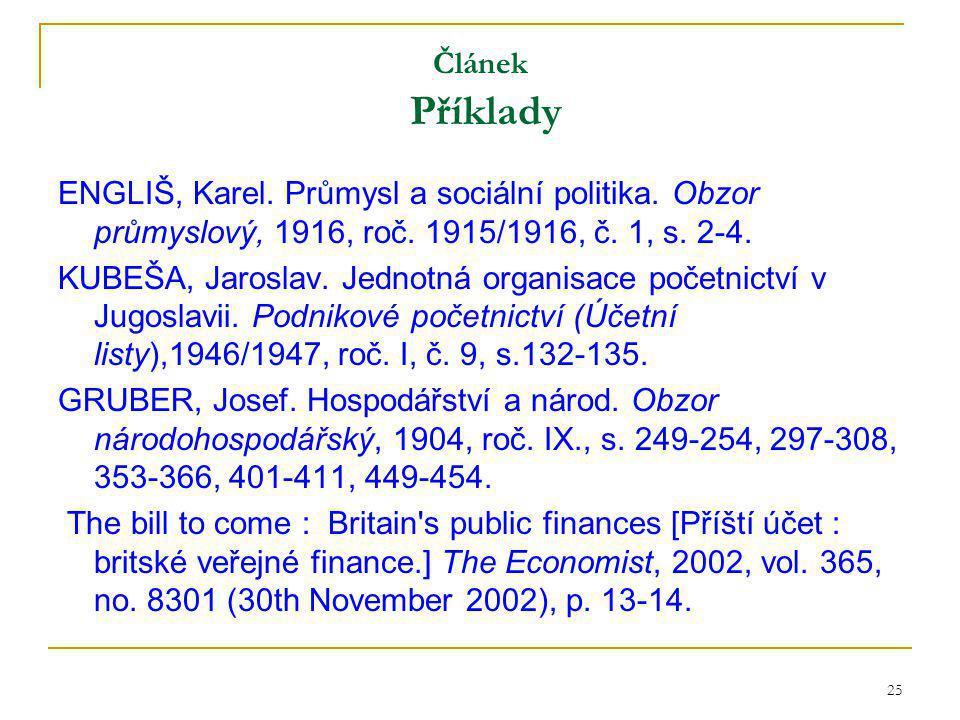 25 Článek Příklady ENGLIŠ, Karel. Průmysl a sociální politika.