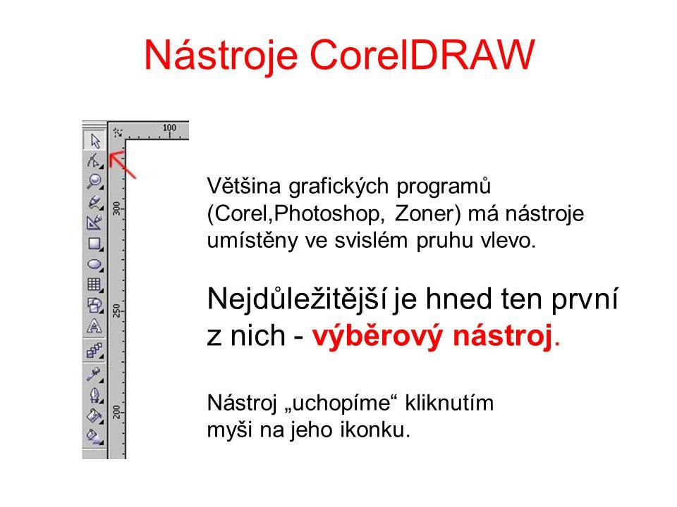 Nástroje CorelDRAW Většina grafických programů (Corel,Photoshop, Zoner) má nástroje umístěny ve svislém pruhu vlevo. Nejdůležitější je hned ten první