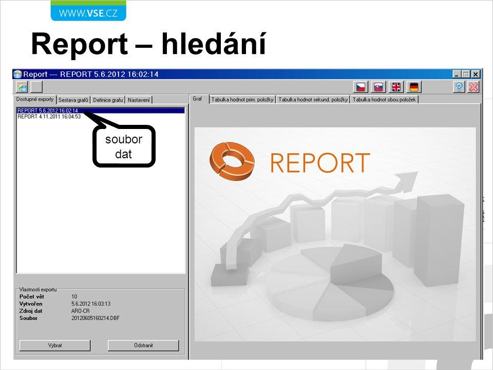 Report – hledání soubor dat