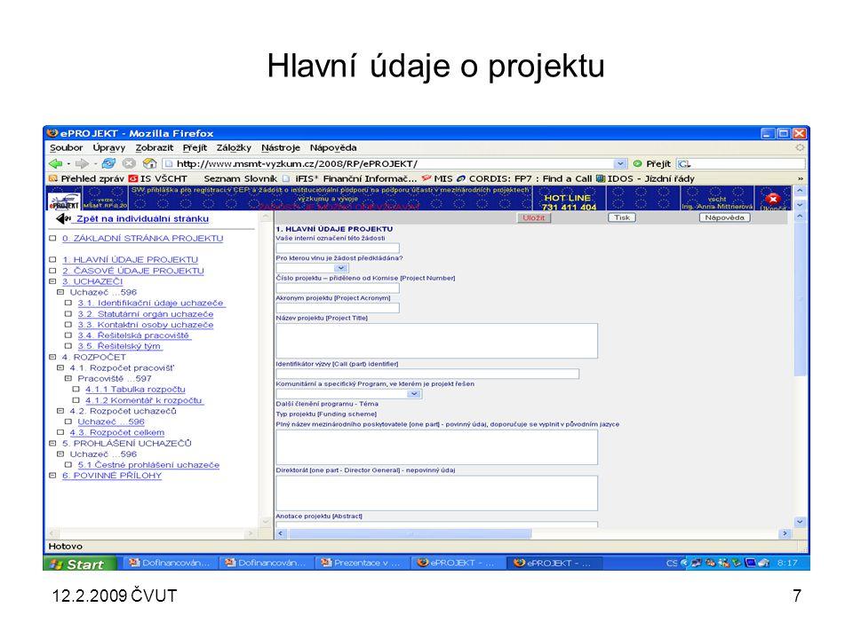 12.2.2009 ČVUT8 Časové údaje o projektu