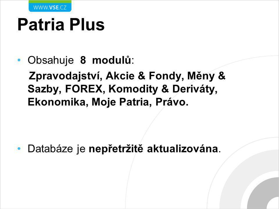 Patria Plus Obsahuje 8 modulů: Zpravodajství, Akcie & Fondy, Měny & Sazby, FOREX, Komodity & Deriváty, Ekonomika, Moje Patria, Právo.
