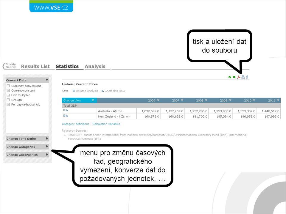 tisk a uložení dat do souboru menu pro změnu časových řad, geografického vymezení, konverze dat do požadovaných jednotek, …