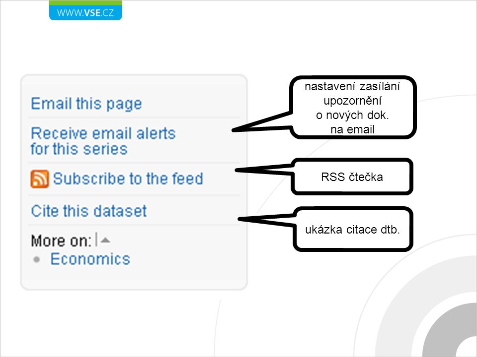 nastavení zasílání upozornění o nových dok. na email RSS čtečka ukázka citace dtb.