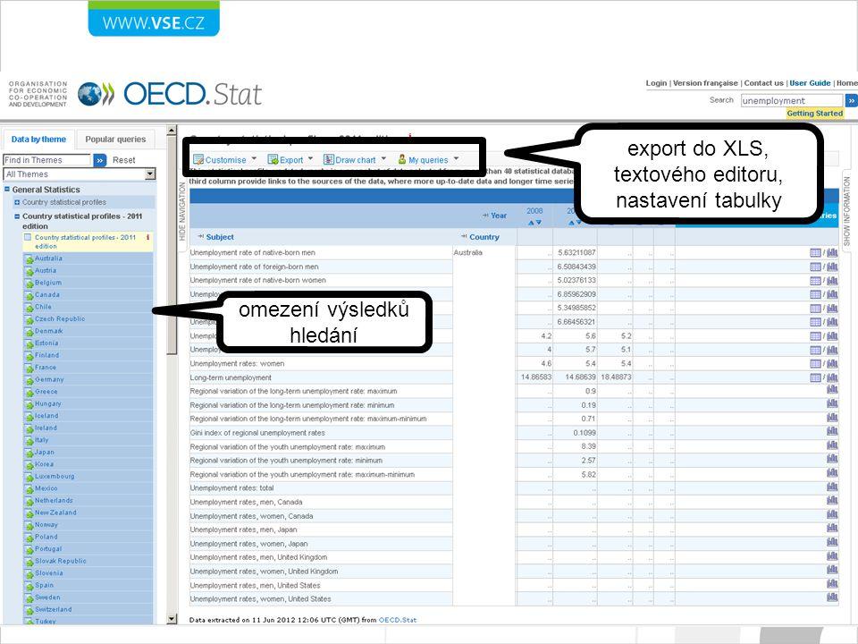 export do XLS, textového editoru, nastavení tabulky omezení výsledků hledání