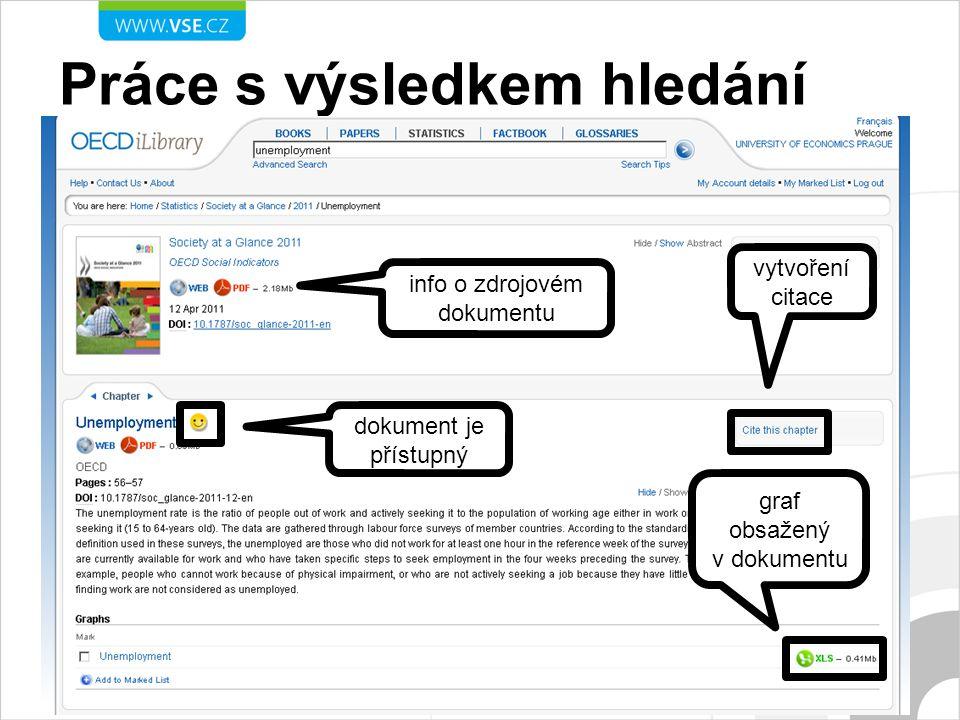 Práce s výsledkem hledání info o zdrojovém dokumentu dokument je přístupný vytvoření citace graf obsažený v dokumentu