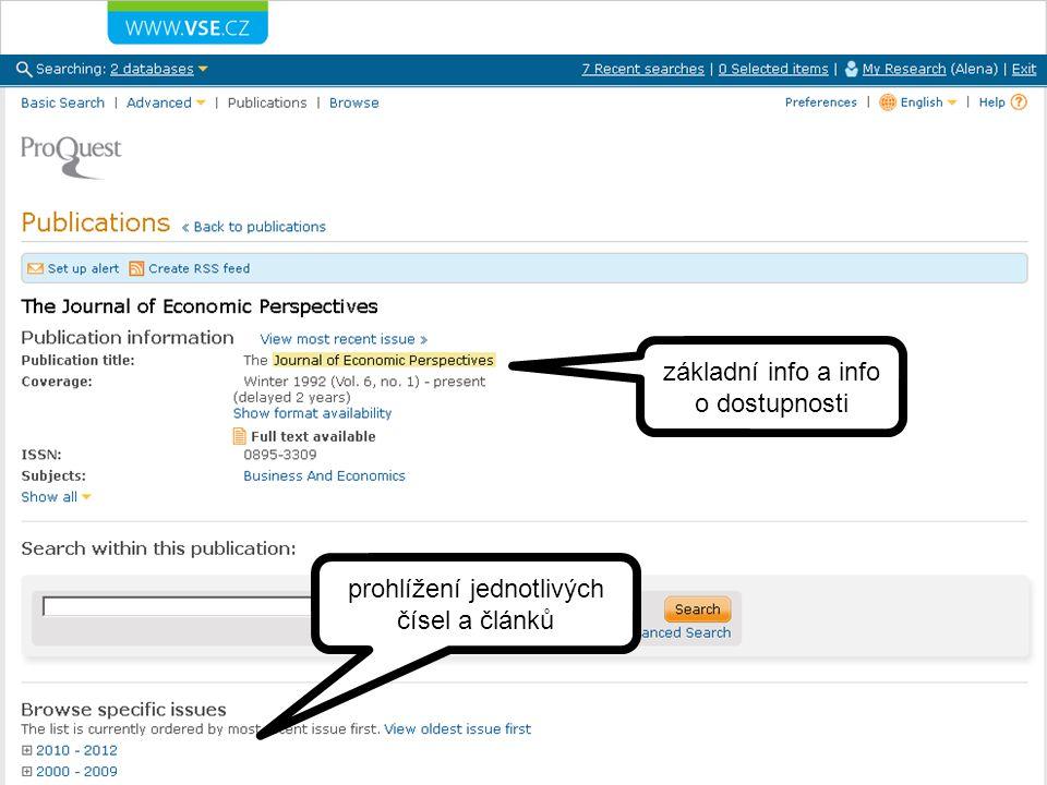 základní info a info o dostupnosti prohlížení jednotlivých čísel a článků