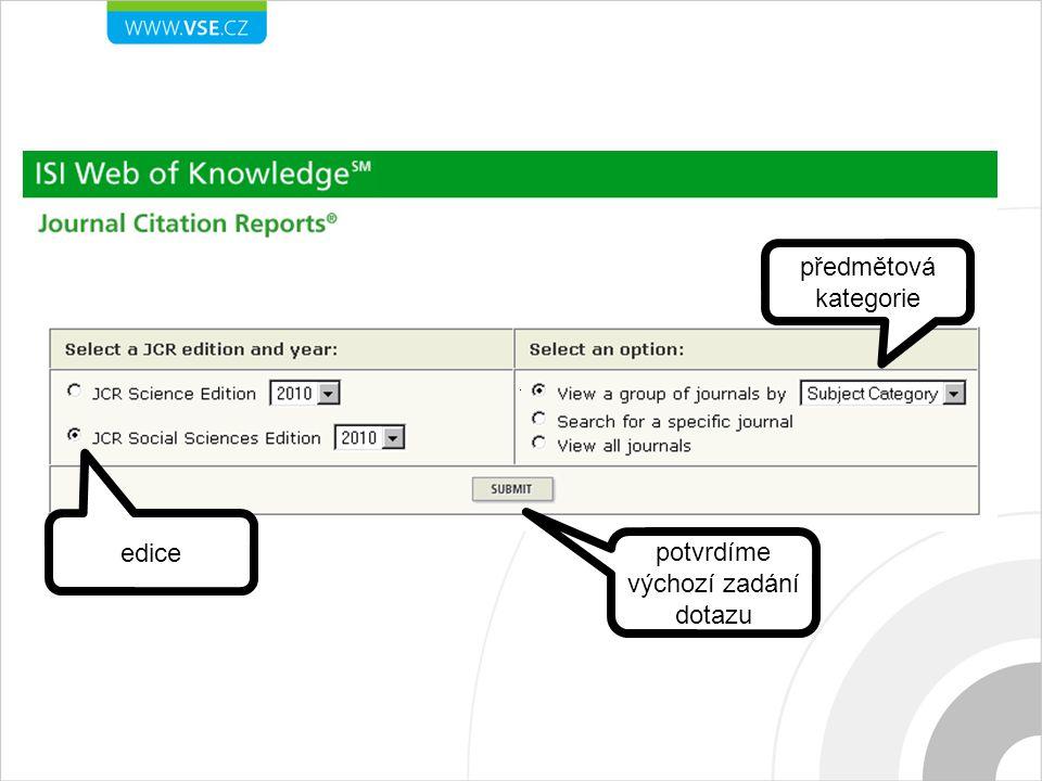 edice předmětová kategorie potvrdíme výchozí zadání dotazu